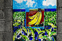 Painted tiles showing a banana plantation near Liberia, Costa Rica, 17 November 2004. Eighty percent of the exported bananas in the world are grown in Latin America. Local farms have no other alternative than to sell for a price offered by the multinational company. When working conditions and ecology is in question, the corporations do not have any responsibility as they do not own plantations. Local governments in the attempt of organizing banana export provide low duty taxes on export, they try to eliminate social and enviromental politics to attract the big companies to their countries.