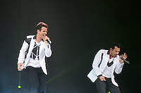 Joey McIntyre and Danny Wood of the New Kids on The Block perform at BB&T Center during The Package Tour 2013, Sunrise, Florida, June 22, 2013