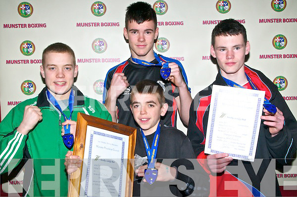 Munster Boys & Youths Boxing Championships: Kerry boys who won gold at the Munster Boys & Youths Championships hosted by the Cashen Vale Boxing Club at the Community Centre, Ballybunion over last weekend. Niall O'Sullivan 57 kg Y1, Thomas O'sullivan, 75 kg. Jack O'Sullivan 52 Kg and Ryan Downey 52 Kg in front.