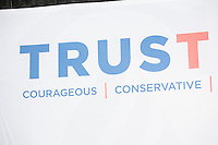"A sign reading ""TrusTed / Courageous, Conservative, Consistent"" stands on stage as Texas senator and Republican presidential candidate Ted Cruz speaks at a town hall at Crossing Life Church in Windham, New Hampshire, on Tues. Feb. 2, 2016. The day before, Cruz won the Iowa caucus."