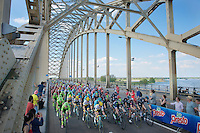 peloton crossing the bridge 3 times in the local finishing laps<br /> <br /> stage 2: Arnhem-Nijmegen (NLD) 190km<br /> 99th Giro d'Italia 2016