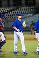 AZL Cubs relief pitcher Peyton Remy (54) congratulates teammates after a game against the AZL Brewers on August 6, 2017 at Sloan Park in Mesa, Arizona. AZL Cubs defeated the AZL Brewers 8-7. (Zachary Lucy/Four Seam Images)