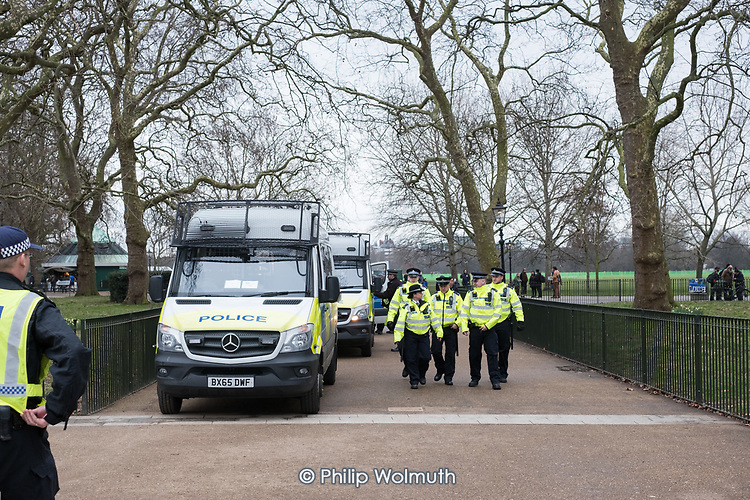 Police on stand-by at Speakers' Corner to prevent clashes between supporters of detained Austrian far-right leader Martin Sellner and the London Anti-Fascists group.