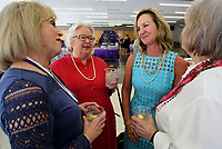NWA Democrat-Gazette/DAVID GOTTSCHALK   Susie Stewart (from left), a 2016 inductee into the Fayetteville Schools Hall of Honor, Martha McNair, a 2017 inductee, Laura Underwood, a 2017 inductee, and Thelma Tarver visit Thursday, August 10, 2017, prior to the formal announcement of the 21st Annual Hall of Honor inductees at Fayetteville High School. The announcement of the inductees by the Fayetteville Public Education Foundation also included 2017 inductee Kathleen DuVal.