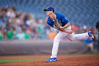 Tulsa Drillers starting pitcher Walker Buehler (4) follows through on a pitch during against the Corpus Christi Hooks on June 3, 2017 at ONEOK Field in Tulsa, Oklahoma.  Corpus Christi defeated Tulsa 5-3.  (Mike Janes/Four Seam Images)