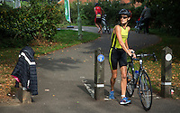 28 SEP 2014 - STOWMARKET, GBR - Gemma Porch from Stowmarket Striders Running Club prepares to start on the 18km bike during the 2014 West Suffolk Triathlon in Stowmarket in Suffolk, Great Britain (PHOTO COPYRIGHT © 2014 NIGEL FARROW, ALL RIGHTS RESERVED)