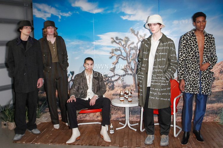 Models pose in outfits from the Krammer & Stoudt Fall Winter 2019 collection, on February 4, 2019; at 55 Water Street for New York Men's Day Fall Winter 2019, during New York Fashion Week: Men's Fall Winter 2019.