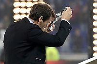 Olympique de Marseille's coach Rudi Garcia holds the medal at the end of the UEFA Europa League final football match between Olympique de Marseille and Club Atletico de Madrid at the Groupama Stadium in Decines-Charpieu, near Lyon, France, May 16, 2018. Club Atletico de Madrid won 3-0.<br /> UPDATE IMAGES PRESS/Isabella Bonotto