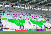 Orlando, FL - Saturday April 22, 2017: Orlando Pride fans unrolling the Tifo during a regular season National Women's Soccer League (NWSL) match between the Orlando Pride and the Washington Spirit at Orlando City Stadium.