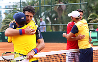 MEDELLIN - COLOMBIA - 08 - 04 - 2017: Juan Sebastian Cabal y Robert Farah de Colombia al final de partido contra : Nicolas Jarry y Hans Podlipnik de Chile, de la serie final de partidos en el Grupo I de la Zona Americana de la Copa Davis, partidos entre Colombia y Chile, en Country Club Ejecutivos de la ciudad de Medellin. / Juan Sebastian Cabal y Robert Farah of Colombia at the end of a match agianst Nicolas Jarry and Hans Podlipnik of Chile, to the final series of matches in Group I of the American Zone Davis Cup, match between Colombia and Chile, at the Country Club Executives in Medellin city. Photo: VizzorImage / Juan C Quintero / Fedetenis / Cont.