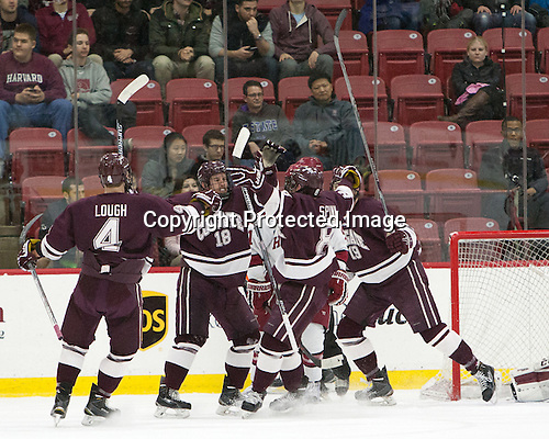 Kevin Lough (Colgate - 4), Tylor Spink (Colgate - 18), Tyson Spink (Colgate - 8), Tim Harrison (Colgate - 19) -  - The Harvard University Crimson defeated the visiting Colgate University Raiders 7-4 (EN) on Saturday, February 20, 2016, at Bright-Landry Hockey Center in Boston, Massachusetts.