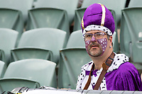 7th February 2020; HBF Park, Perth, Western Australia, Australia; A League Football, Perth Glory versus Wellington Phoenix; Perth Glory's number one supporter dressed as the king for todays match