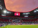 23.05.2020, Allianz Arena, nph00250, , München, GER, 1.FBL, FC Bayern München vs Eintracht Frankfurt 23.05.2020 , <br /><br />Nur für journalistische Zwecke!<br /><br />Gemäß den Vorgaben der DFL Deutsche Fußball Liga ist es untersagt, in dem Stadion und/oder vom Spiel angefertigte Fotoaufnahmen in Form von Sequenzbildern und/oder videoähnlichen Fotostrecken zu verwerten bzw. verwerten zu lassen. <br /><br />Only for editorial use! <br /><br />DFL regulations prohibit any use of photographs as image sequences and/or quasi-video..<br />im Bild<br />Sonnenuntergang ueber der Allianz Arena innen mit Anzeige <br />    <br /> Foto: Peter Schatz/Pool/Bratic/nordphoto