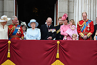 Camilla, Duchess of Cornwall; Prince Charles, Prince of Wales; Princess Beatrice; HM Queen Elizabeth II &amp; Prince Philip, Duke of Edinburgh; Prince Harry; Catherine, Duchess of Cambridge; Princess Charlotte; Prince George &amp; Prince William, Duke of Cambridge on the balcony of Buckingham Palace following the Trooping of the Colour Ceremony celebrating the Queen's official birthday. London, UK. <br /> 17 June  2017<br /> Picture: Steve Vas/Featureflash/SilverHub 0208 004 5359 sales@silverhubmedia.com