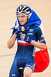 Benjamin Thomas of France celebrates winning in the Men's Omnium Finals during the 2017 UCI Track Cycling World Championships on 15 April 2017, in Hong Kong Velodrome, Hong Kong, China. Photo by Marcio Rodrigo Machado / Power Sport Images