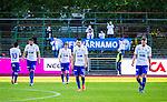 Uppsala 2014-06-26 Fotboll Superettan IK Sirius - IFK V&auml;rnamo :  <br /> V&auml;rnamos Joel L&ouml;w , V&auml;rnamos Dzenis Kozica V&auml;rnamos Juan Robledo deppar efter slutsignalen<br /> (Foto: Kenta J&ouml;nsson) Nyckelord:  Superettan Sirius IKS Studenternas IFK V&auml;rnamo depp besviken besvikelse sorg ledsen deppig nedst&auml;md uppgiven sad disappointment disappointed dejected