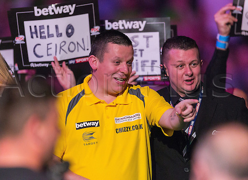 31.03.2016. The Motorpoint Arena, Cardiff.  Betway PDC Premier League Darts Judgement Night. Dave Chisnall during his walk on