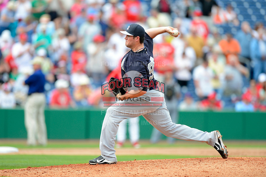 New York Yankees pitcher Zach Nuding #95 during a Spring Training game against the Philadelphia Phillies at Bright House Field on February 26, 2013 in Clearwater, Florida.  Philadelphia defeated New York 4-3.  (Mike Janes/Four Seam Images)