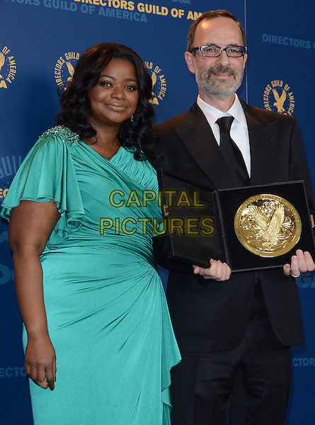 Octavia Spencer and Robert B. Weide.64th Annual Directors Guild Of America Awards  held at the Hollywood and Highland Ballroom, Hollywood, California, USA..January 28th, 2012.half length green silk satin dress wrap black suit award trophy winner  glasses beard facial hair .CAP/ADM/BP.©Byron Purvis/AdMedia/Capital Pictures.