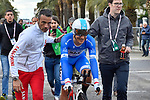 Race leader Michal Kwiatkowski (POL) Team Sky finishes Stage 7 of the 53rd edition of the Tirreno-Adriatico 2018 a 10km individual time trial around San Benedetto del Tronto, Italy. 13th March 2018.<br /> Picture: LaPresse/Fabio Ferrari   Cyclefile<br /> <br /> <br /> All photos usage must carry mandatory copyright credit (&copy; Cyclefile   LaPresse/Fabio Ferrari)