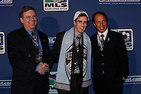 The Colorado Rapids first pick and the fifth pick overall Ciaran O'Brien with general manager Charlie Wright and head coach Fernando Clavijo during the MLS SuperDraft at the Baltimore Convention Center in Baltimore, MD, on January 18, 2008.  during the MLS SuperDraft at the Baltimore Convention Center in Baltimore, MD, on January 18, 2008.