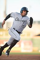 AZL White Sox shortstop Lency Delgado (10) rounds third base during an Arizona League game against the AZL Indians 1 at Goodyear Ballpark on June 20, 2018 in Goodyear, Arizona. AZL Indians 1 defeated AZL White Sox 8-7. (Zachary Lucy/Four Seam Images)