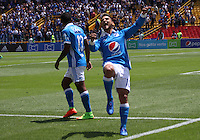 BOGOTA -COLOMBIA, 28-02-2017. Jacobo Kouffatty player of Millonarios  celebrates his goal against  of Equidad during match for the date 6 of the Aguila League I 2017 played at Nemesio Camacho El Campin stadium . Photo:VizzorImage / Felipe Caicedo  / Staff