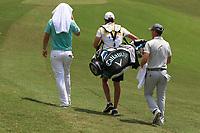 Bernd Wiesberger (AUT) and Danny Willett (ENG) walk down the 3rd fairway during Round 1 of the Maybank Championship at the Saujana Golf and Country Club in Kuala Lumpur on Thursday 1st February 2018.<br /> Picture:  Thos Caffrey / www.golffile.ie<br /> <br /> All photo usage must carry mandatory copyright credit (&copy; Golffile | Thos Caffrey)