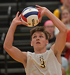 O'Fallon's Connor Sheehan sets the ball against Minooka in the Class 4A Belleville East boys volleyball sectional final at Belleville East High School on Tuesday May 28, 2019.<br /> Tim Vizer/Special to STLhighschoolsports.com