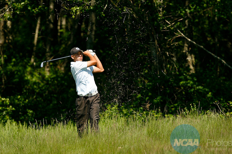 22 MAY 2009:  Gene Webster of CSU-San Bernardino hits out of the rough during the Division II Men's Golf Championship held at the Loomis Trail Golf Club in Blaine, WA.  Webster tied for third place with a +6 score.  Jamie Schwaberow/NCAA Photos
