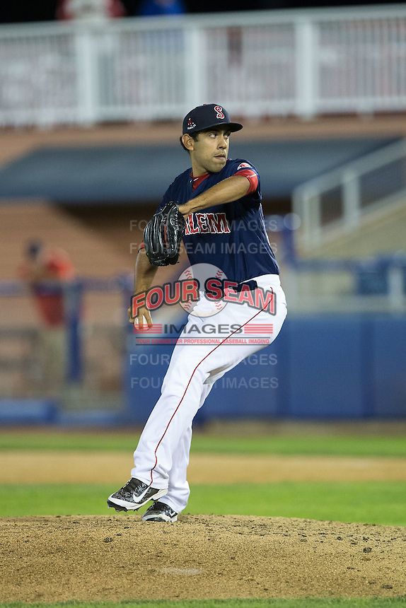 Salem Red Sox relief pitcher Jorge Marban (16) in action against the Winston-Salem Dash at LewisGale Field at Salem Memorial Ballpark on May 13, 2015 in Salem, Virginia.  The Red Sox defeated the Dash 8-2.  (Brian Westerholt/Four Seam Images)