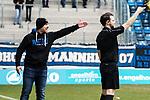Waldhof-Coach Bernhard Trares (l.) war oftmals nicht einverstanden mit den Entscheidungen der Schiedsrichter beim Spiel in der Regionalliga Suedwest, SV Waldhof Mannheim - FC-Astoria Walldorf.<br /> <br /> Foto &copy; PIX-Sportfotos *** Foto ist honorarpflichtig! *** Auf Anfrage in hoeherer Qualitaet/Aufloesung. Belegexemplar erbeten. Veroeffentlichung ausschliesslich fuer journalistisch-publizistische Zwecke. For editorial use only.