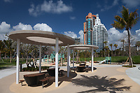 Picnic Tables & Sunshades, South Pointe Park, Miami, Florida, FL, America, USA.