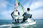 ISAF Sailing World Cup Hyères - Fédération Française de Voile. 49er,Emmanuel Dyen, Marc Mallaret.