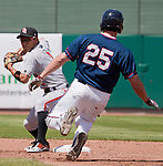 Fresno Grizzlies second baseman Kensuke Tanaka turns to throw as Reno Aces runner Brad Snyder slides to break up a double play during their game played on Sunday afternoon, April 28, 2013 in Reno, Nevada.