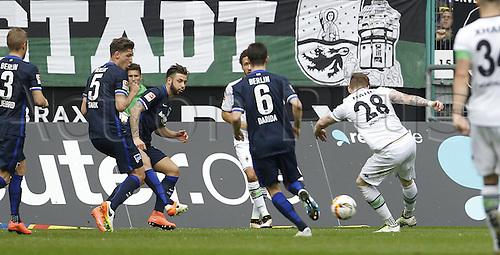 03.04.2016. Monchengladbach, Germany.  Bundesliga Football. Borussia Monchengladbach versus Hertha Berlin.  Monchengladbach,  Andre Hahn (Bor Moenchengladbach) scores for 2:0
