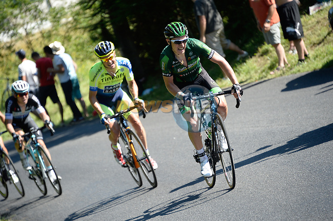 Cyril Gautier (FRA) Team Europcar and Nicolas Roche (IRL) Tinkoff-Saxo attack from the peleton during Stage 11 of the 2014 Tour de France running 187.5km from Besancon to Oyonnax. 16th July 2014.<br /> Photo ASO/B.Bade/www.newsfile.ie