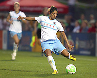 Cristiane #11 of the Chicago Red Stars winds up for a shot during a WPS match against the Washington Freedom at the Maryland Soccerplex, in Boyds Maryland on June 12 2010.The game ended in a 2-2 tie.
