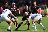 Schalk Burger of Saracens takes on the Bedford Blues defence. Pre-season friendly match, between Bedford Blues and Saracens on August 19, 2017 at Goldington Road in Bedford, England. Photo by: Patrick Khachfe / Onside Images