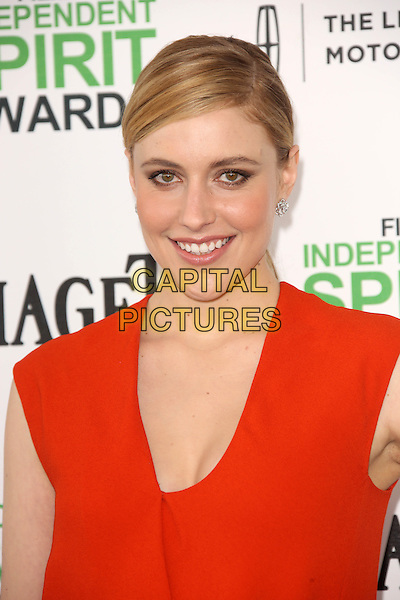SANTA MONICA, CA - March 01: Greta Gerwig at the 2014 Film Independent Spirit Awards Arrivals, Santa Monica Beach, Santa Monica,  March 01, 2014. Credit: Janice Ogata/MediaPunch<br /> CAP/MPI/JO<br /> &copy;JO/MPI/Capital Pictures