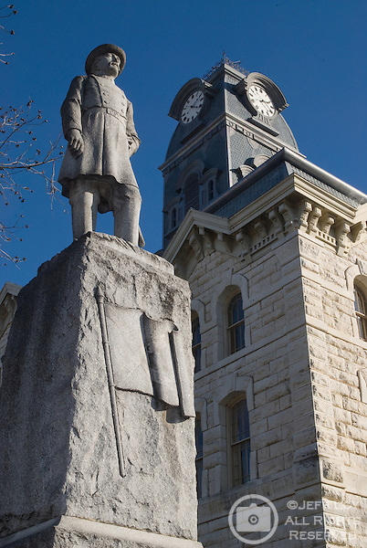 A statue of Civil War brigadier general H.B. Granbury stands next to the Hood County Courthouse in downtown Granbury, Texas.