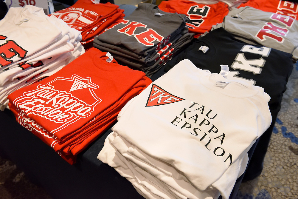A display of branded TKE fraternity tee shirts.
