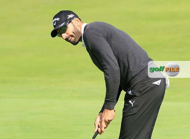 Alvero Quiros (ESP) on the 7th green during Round 1 of the 2015 KLM Open at the Kennemer Golf &amp; Country Club in The Netherlands on 10/09/15.<br /> Picture: Thos Caffrey | Golffile