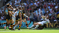 Phil Dollman of Exeter Chiefs goes over in the corner to score a try during the Premiership Rugby Final at Twickenham Stadium on Saturday 27th May 2017 (Photo by Rob Munro)