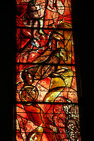 STAINED GLASS<br /> By Marc Chagall, Fraumunster Church<br /> Zurich, Switzerland<br /> Glass painted and fired or coloured by adding metallic salts during its manufacture