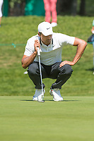Julian Suri (USA) lines up his putt on the 5th hole during second round at the Omega European Masters, Golf Club Crans-sur-Sierre, Crans-Montana, Valais, Switzerland. 30/08/19.<br /> Picture Stefano DiMaria / Golffile.ie<br /> <br /> All photo usage must carry mandatory copyright credit (© Golffile | Stefano DiMaria)