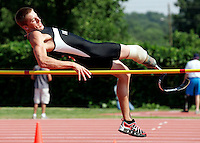David Prince of Atlanta attempts the high jump during the U.S. Paralympics Track and Field National Championships at Lakewood Stadium in Atlanta on Saturday, July 1, 2006. Prince, a triathlete who lost part of his right leg in a motorcycle accident, said this was the first time he'd ever tried the event. The Paralympics is the qualifier to gain entry on the U.S. Team for the International Paralympic Committee Athletics Championships in Switzerland.