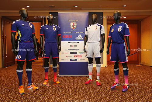 Japan national football team new uniform, NOVEMBER 11, 2013 - Football / Soccer : Japan National Team Official Uniform Announcement Press conference at Hilton Hotel Narita, Chiba, Japan. (Photo by AFLO SPORT)