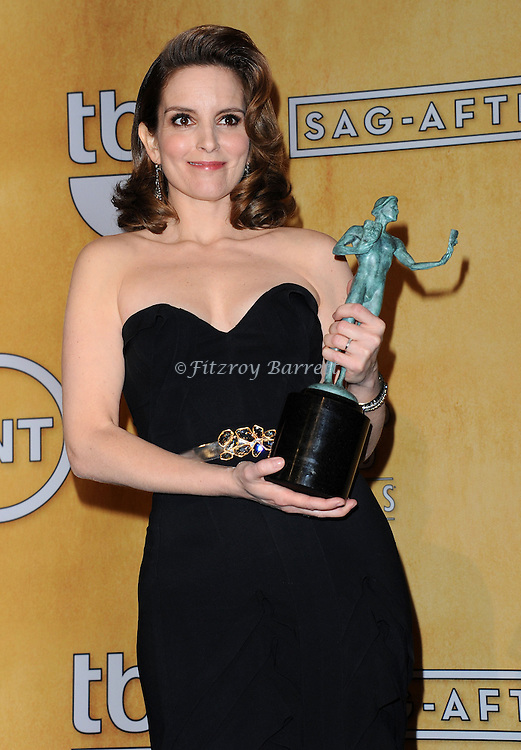 Tina Fey in the press room at  the 19th Screen Actors Guild Awards held at the Shrine Auditorium in Los Angeles, CA. January 27, 2013.