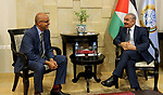 Palestinian Prime Minister Mohammad Ishtayeh meets with Roberto Valent, the special representative to UNDP's Programme of Assistance to the Palestinian People, in the West Bank city of Ramallah, August 21, 2019. Photo by Prime Minister Office